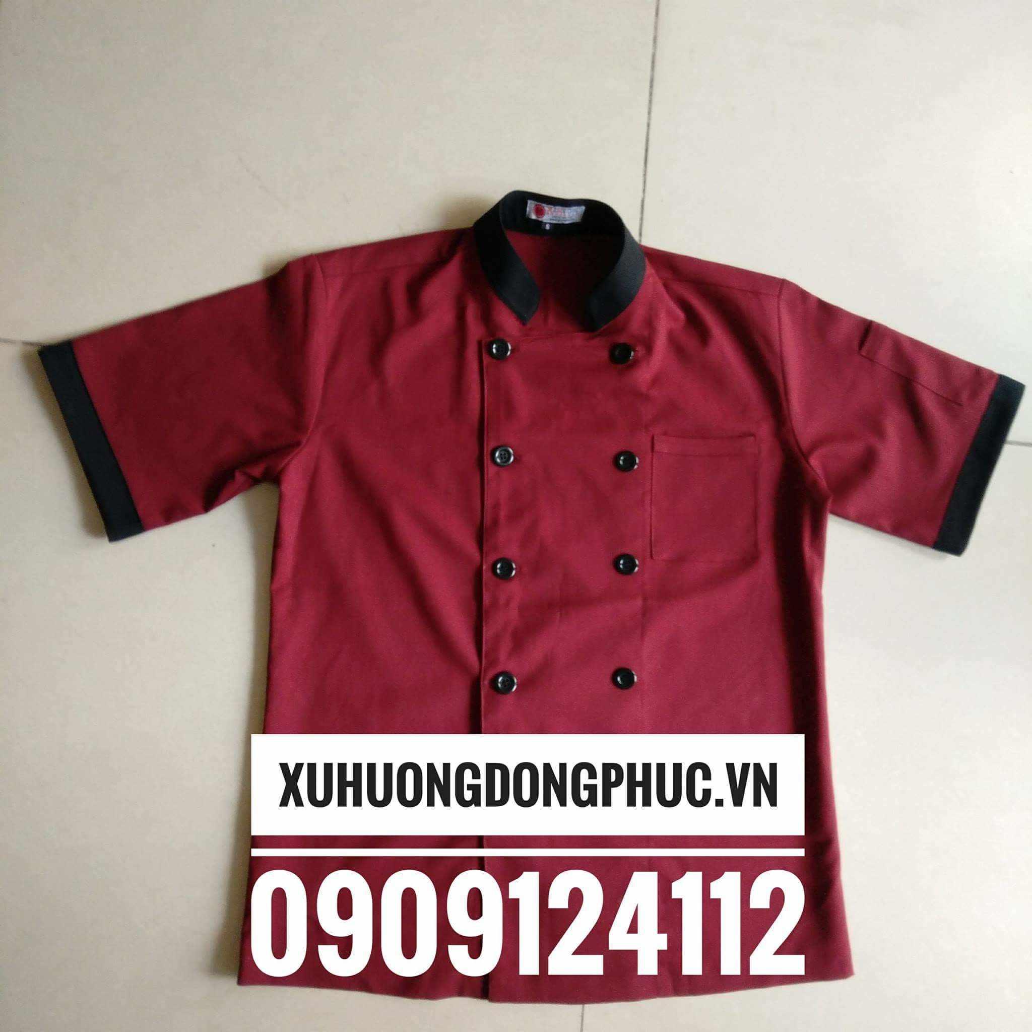 Áo bếp nam đỏ đô phối đen kaki thun dày