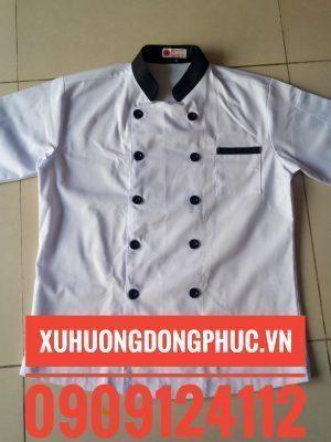 Áo bếp trắng phối đen tay ngắn kaki Xu Hướng Đồng Phục - Hotline 0909124112