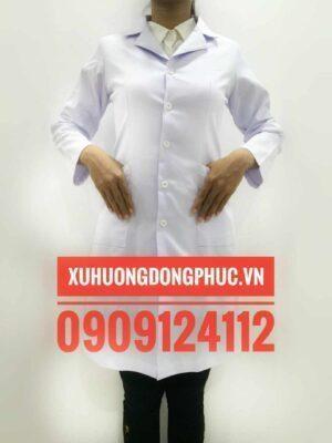 Áo blouse bác sĩ tay dài nữ kaki thun Xu Hướng Đồng Phục - Hotline 0909124112