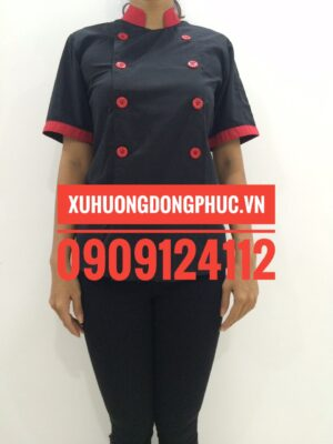 Áo bếp nữ đen phối đỏ kate silk mỏng 100% cotton Xu Hướng Đồng Phục - Hotline 0909124112