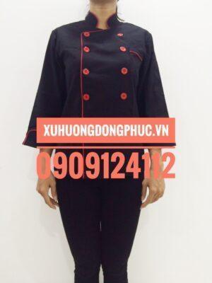 Áo bếp nữ tay dài kaki thun đen viền đỏ Xu Hướng Đồng Phục - Hotline 0909124112