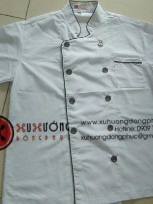 Áo bếp trắng viền nâu tay ngắn Xu Hướng Đồng Phục - Hotline 0909124112