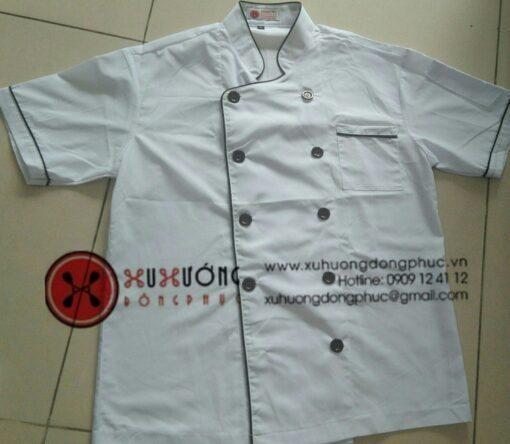 Áo bếp trắng viền nâu tay ngắn Xu Hướng Đồng Phục - Hotline 0909124112 IMG 20200822 190446