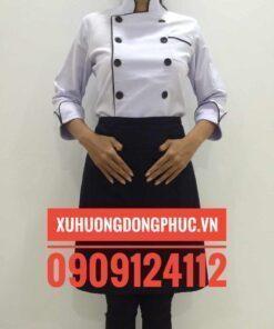áo bếp trắng viền nâu kaki thun - xuhuongdongphuc.vn