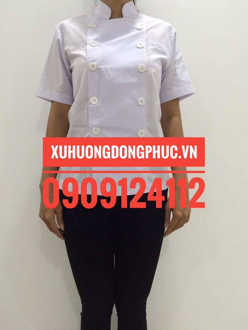 Áo bếp nữ tay ngắn kate silk