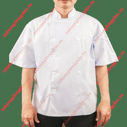 Áo bếp nam tay ngắn kate silk