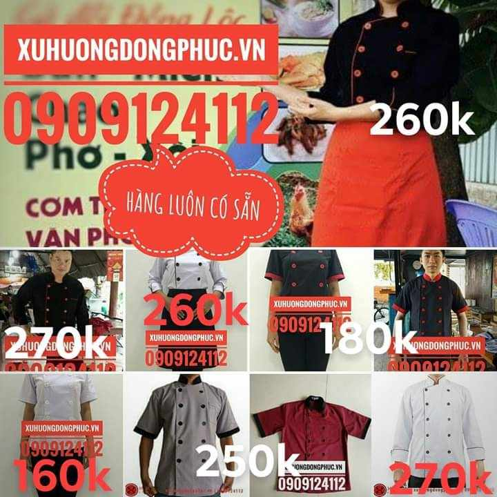 Đồng phục bếp, áo bếp, tạp dề hàng có sẵn Xu Hướng Đồng Phục - Hotline 0909124112 ao bep