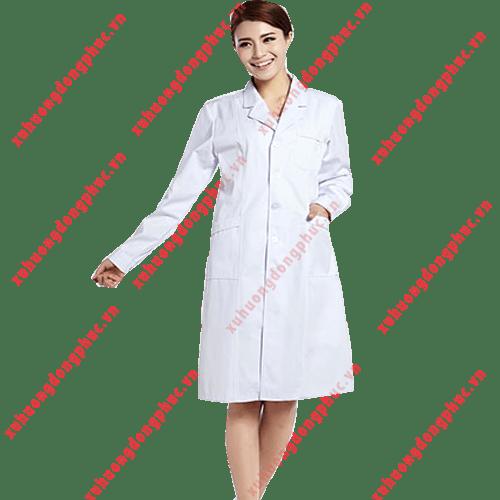 Áo blouse bác sĩ tay dài nữ kaki thun