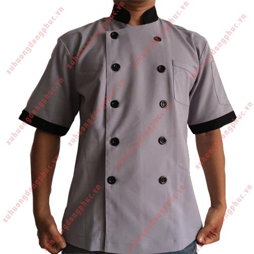 Áo bếp nam kaki thun tay ngắn xám phối đen