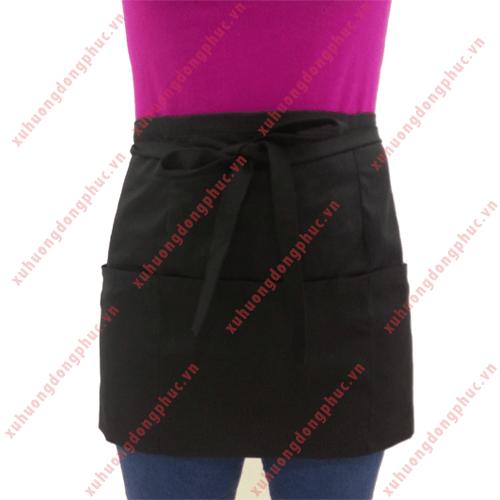 Tạp dề ngắn đen 3 túi